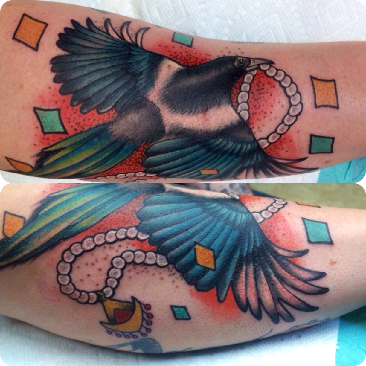 Magpie bird Tattoo Design Thumbnail