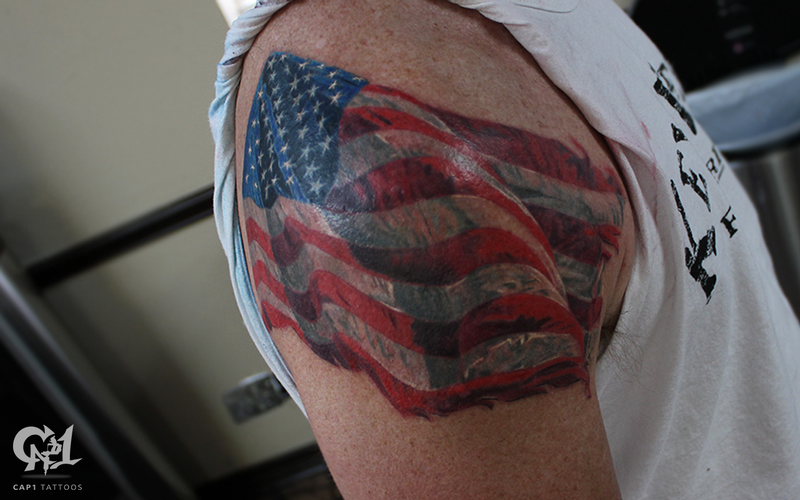 American flag tattoo by capone tattoonow for Best tattoo artists in america