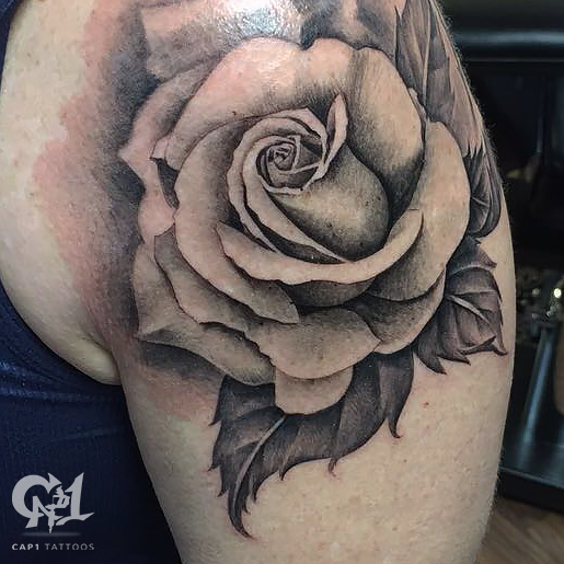 black and gray rose tattoo by capone tattoonow. Black Bedroom Furniture Sets. Home Design Ideas