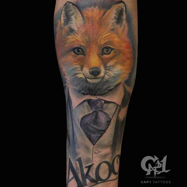 Gentleman fox color tattoo by capone tattoonow for Tattoo shops denton tx