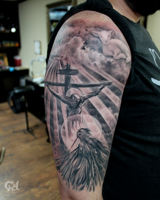 Jesus saves tattoo sleeve by capone tattoonow for Christian tattoo shop