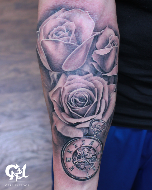 Rose and pocket watch half sleeve tattoo by capone for Rose sleeve tattoos