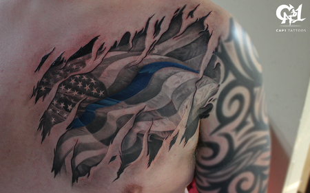 American Flag Back the Blue Tattoo Design Thumbnail