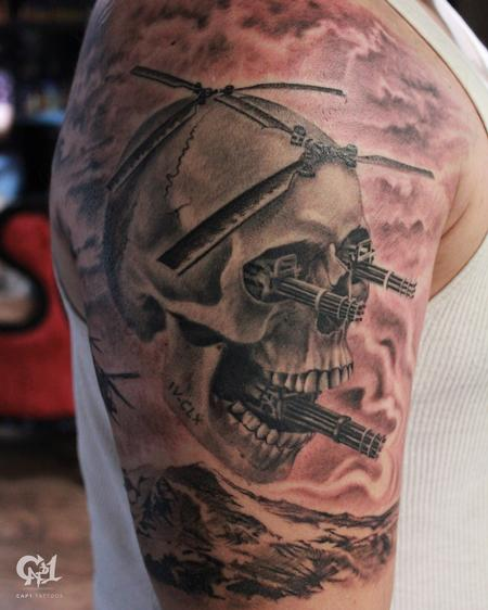 Tattoos - Army Skull Tattoo (Skull Helicopter) - 129134