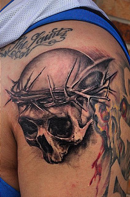 Tattoos - Black And Grey Skull Tattoo - 96248
