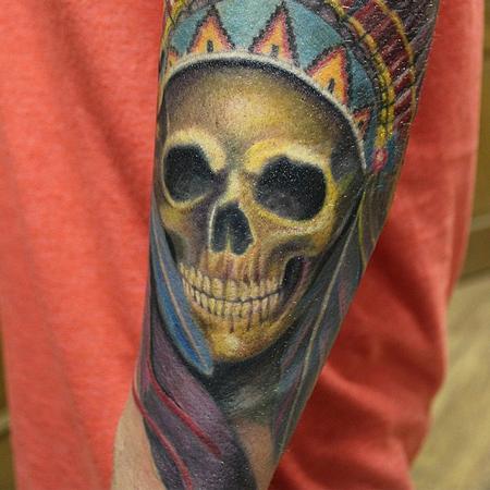 Tattoos - Native American Skull - 100267