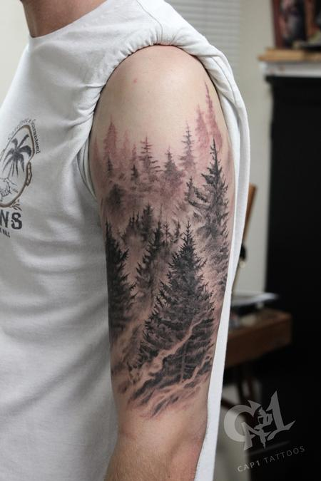 Capone - Pine tree forest tattoo