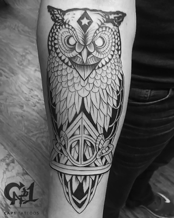Tattoos - Deathly Hallows Owl Tattoo - 126064