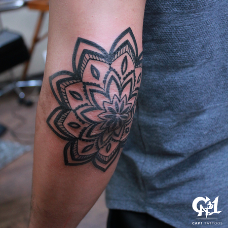 Capone - Mandala Elbow Tattoo