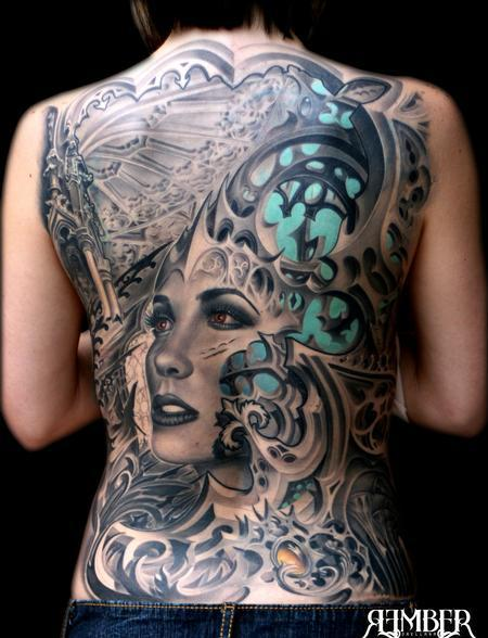 Gothic Back Tattoo Design Thumbnail