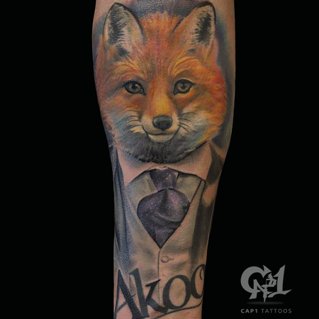 Tattoos - Gentleman Fox Color Tattoo - 122355