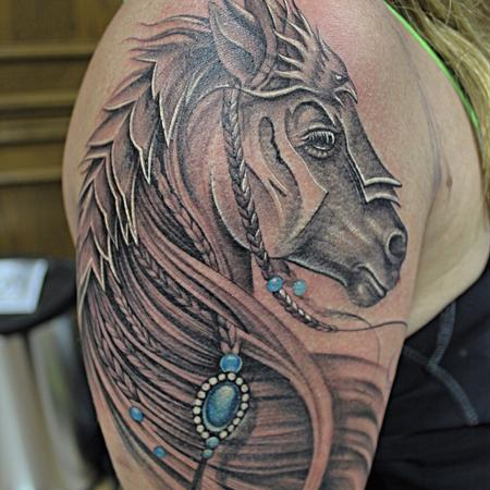 Tattoos - Feminine Gladiator Horse - 99246