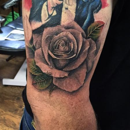 Tattoos - Black And Gray Rose Tattoo - 111563