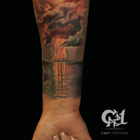 Tattoos - Nature Ocean, Clouds and Lighting Sleeve - 121982