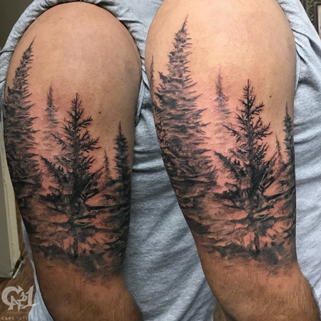 Pine Tree Forest Half-Sleeve Tattoo Design Thumbnail