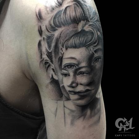 Tattoos - Distorted Portrait Tattoo - 122256