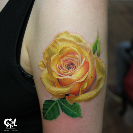 Tattoos - Realistic Color Rose Tattoo - 126646