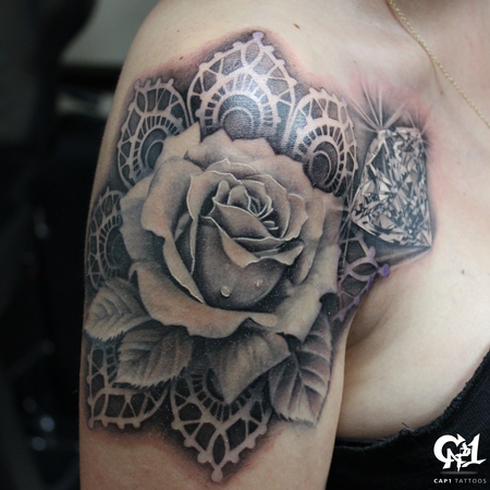 Capone - Realistic Rose and Diamond Tattoo