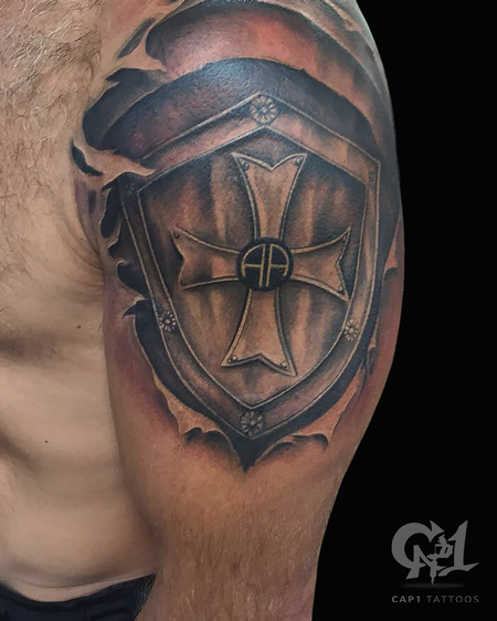 Tattoos - Skin Rip Shield Tattoo - 124931