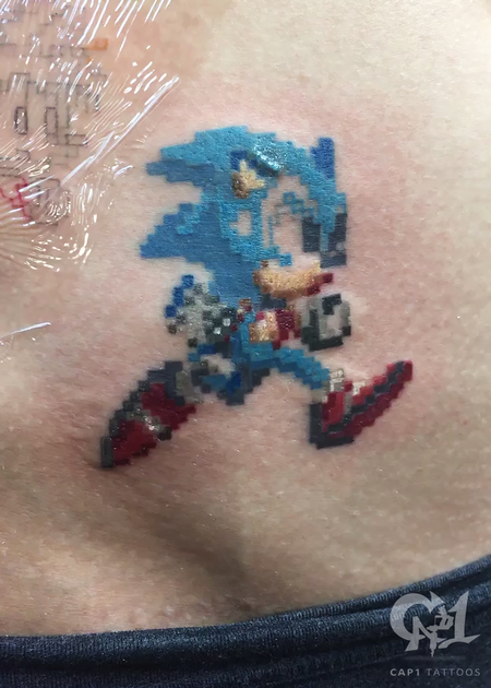 Sonic the Hedgehog 8bit Tattoo Design Thumbnail