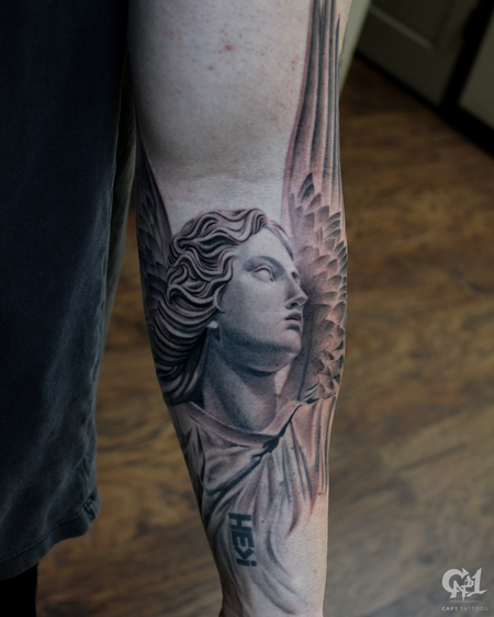 Stone Angel Half Sleeve Tattoo Tattoo Design