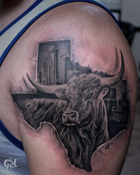 Tattoos - Texas Longhorn Tattoo - 129492