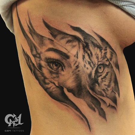 Tattoos - Tiger Rib Cage Skin Rips  - 122215
