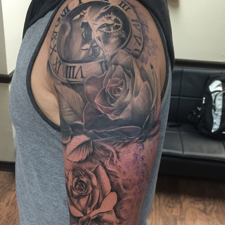 Capone - Mechanical Clock and Roses Sleeve Progress