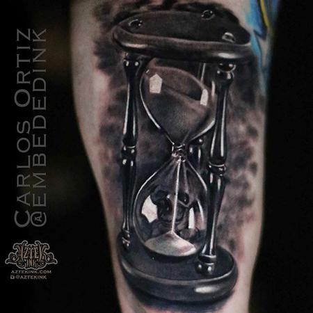 Tattoos - Black and Grey Hourglass - 132032