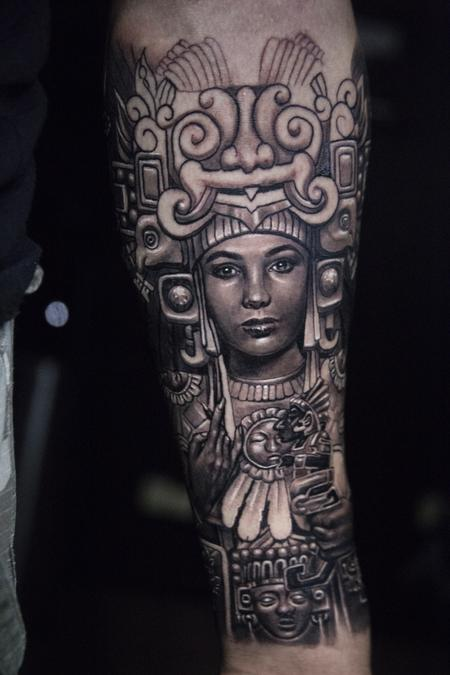 Carlos Ortiz - aztec woman tattoo