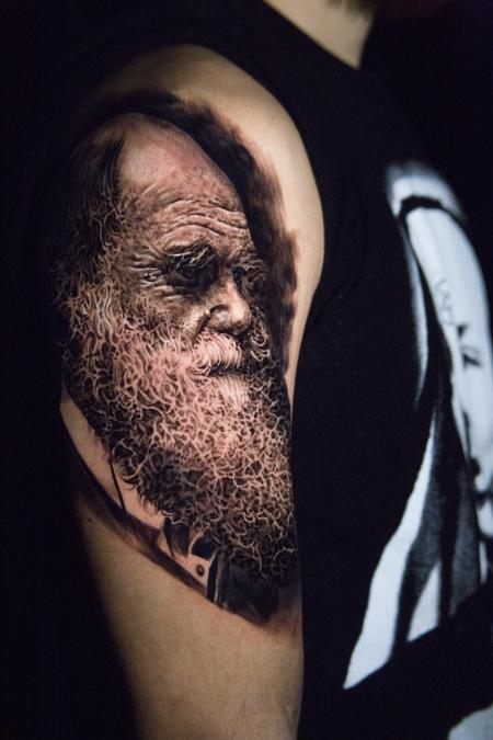 black and grey Darwin portrait tattoo Tattoo Design Thumbnail