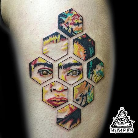 Tattoos - Color Hexagon Frida Tattoo - 117075