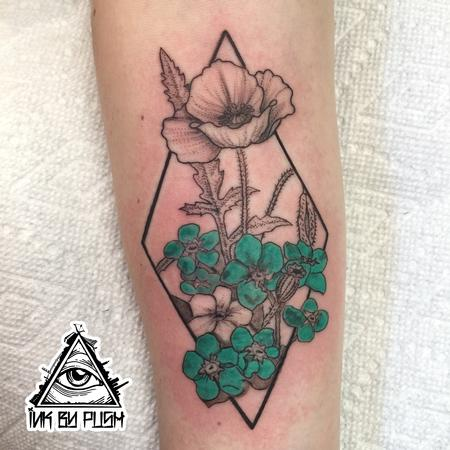 Tattoos - Stipple and Color Flowers Tattoo - 117072