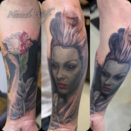 Tattoos - woman with rose - 116449