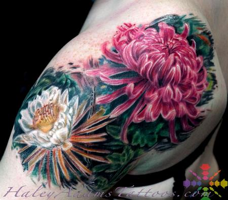 Tattoos - view 2 flowers on shoulder and upper arm - 117103