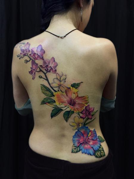 Genevieve Dupre - full color floral back piece