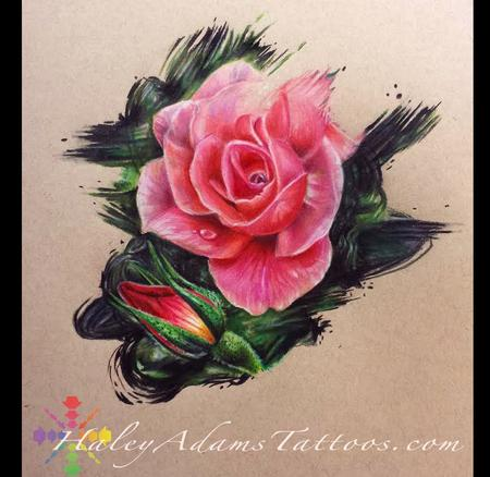 Tattoos - Color pencil roses  - 119946