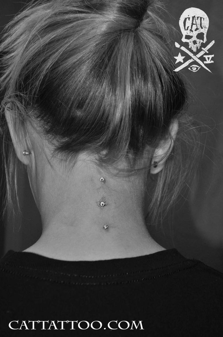ce9a60eb7 Cat Tattoo : Body Piercing : Surface : Triple Vertical Neck Surface ...