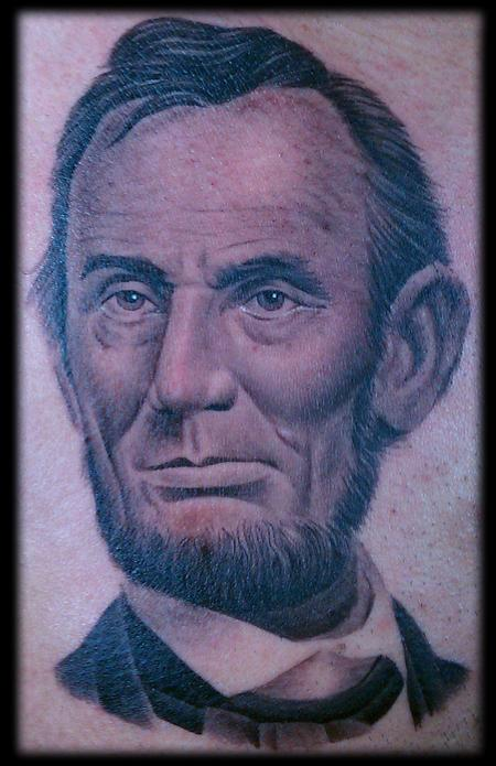 Realistic black and grey Abraham Lincoln tattoo.  Tattoo Design Thumbnail