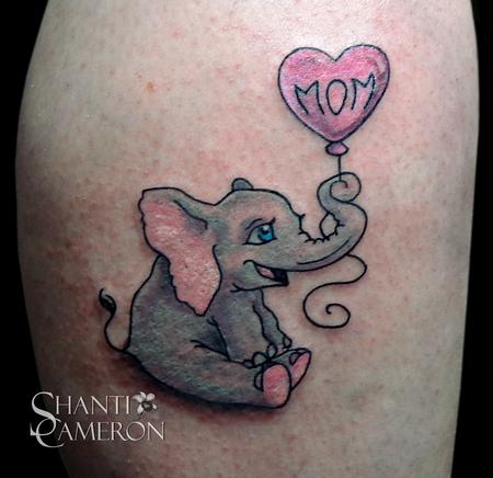 Remove Tatto on Baby Elephant With Balloon Tattoos