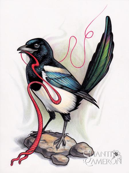 Shanti - Magpie with Red String