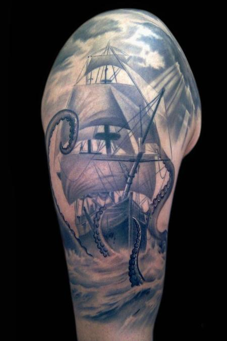 ship sleeve Tattoo Design Thumbnail