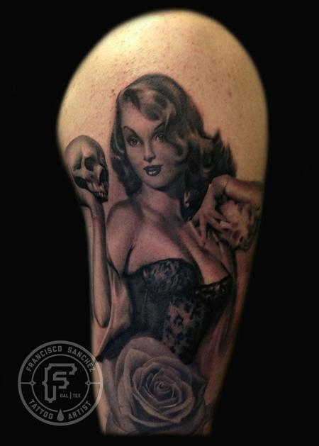 Francisco Sanchez - pinup with skull