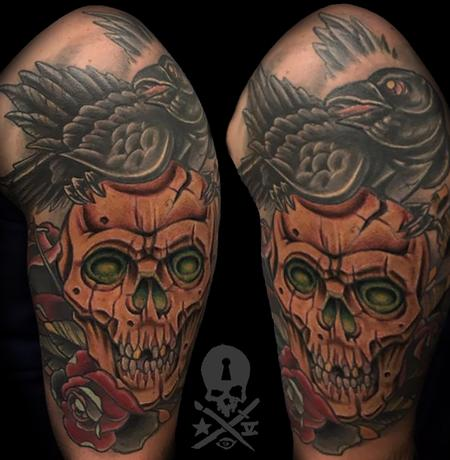 Tattoos - Skull and Raven - 132425