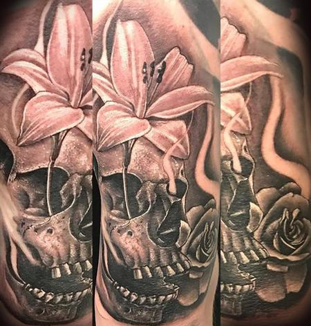 Tattoos - Skull&Flowers - 131990