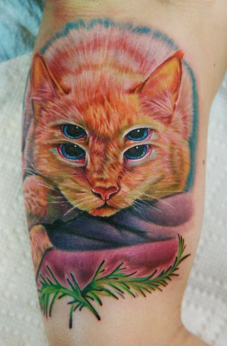 $ eyed cat Tattoo Design Thumbnail