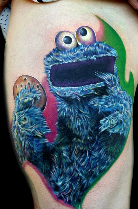 Via cookie monster tattoos inked girls for Monster tattoo designs