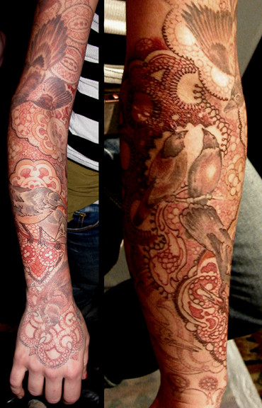 bird and lace sleeve by chris dingwell tattoonow. Black Bedroom Furniture Sets. Home Design Ideas