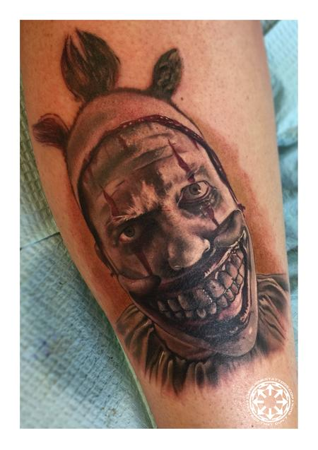 Tattoos - Color portrait of Twisty the Clown - 122218
