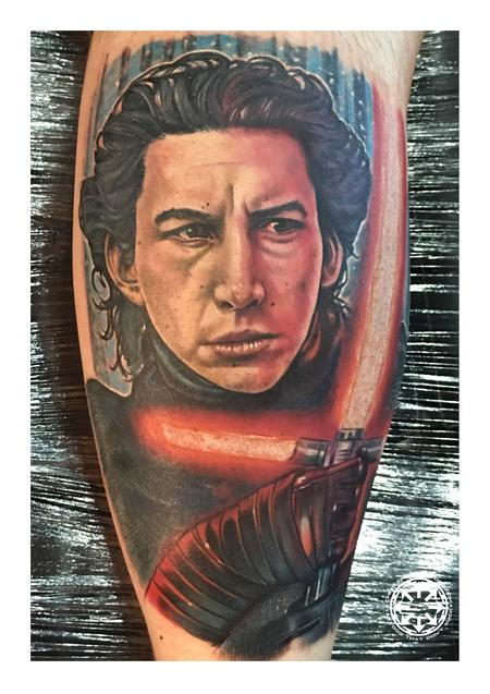 Kylo Ren color portrait Tattoo Design